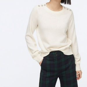 J crew crewneck sweater jeweled buttons ivory